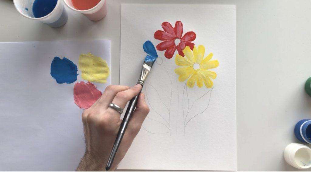Как научиться рисовать цветы гуашью - этап 2 - фото 8