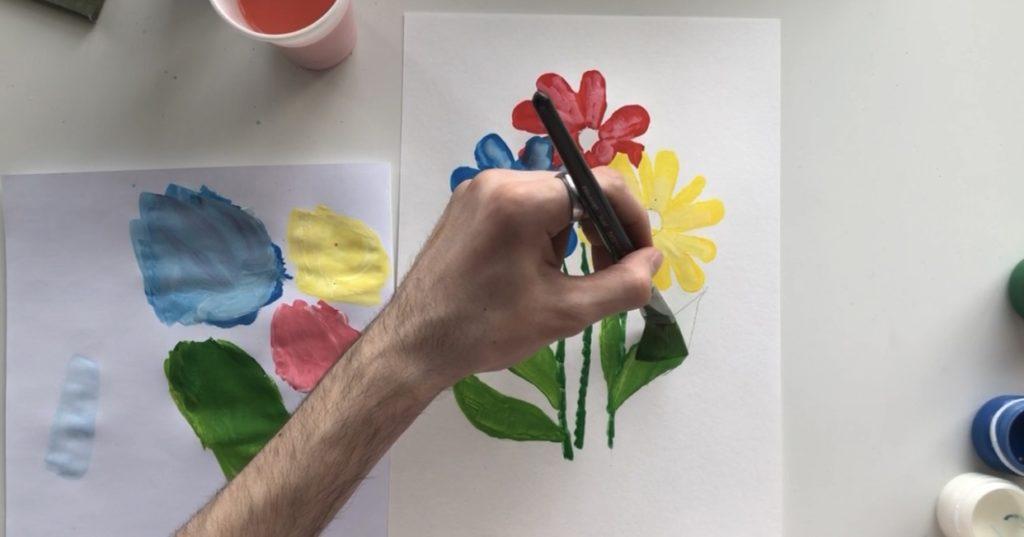 Как научиться рисовать цветы гуашью - этап 3 - фото 6