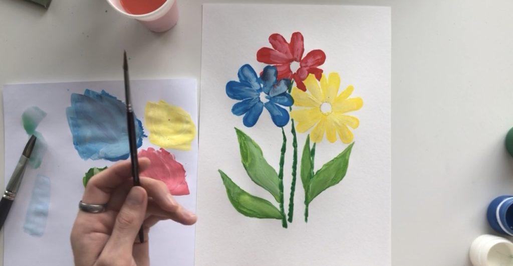 Как научиться рисовать цветы гуашью - этап 3 - фото 9
