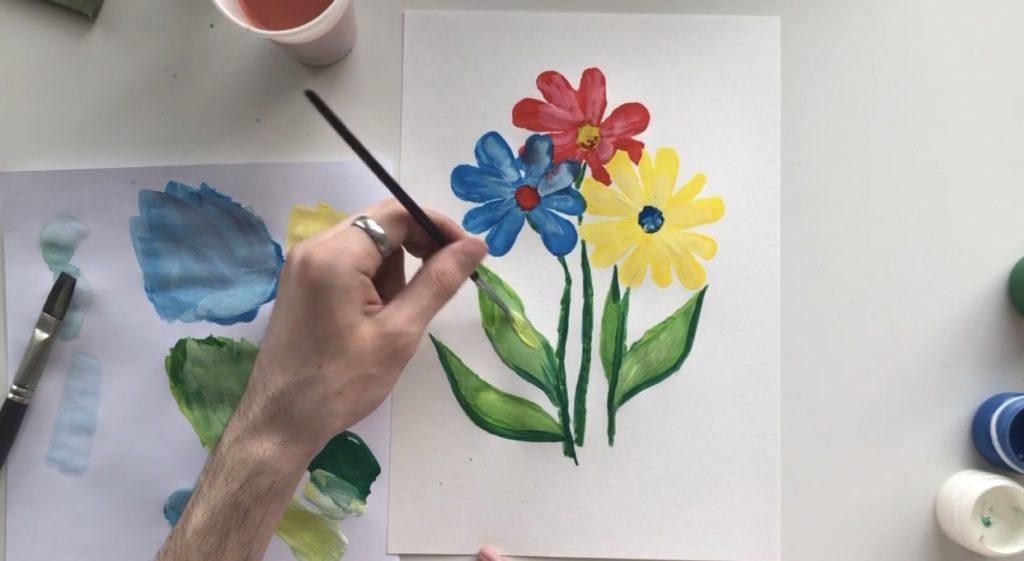 Как научиться рисовать цветы гуашью - этап 3 - фото 10