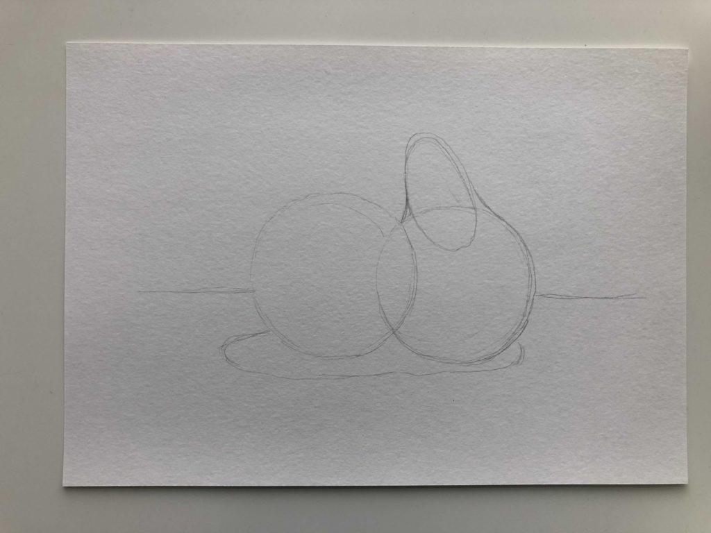 Как научиться рисовать яблоко и грушу гуашью - этап 1
