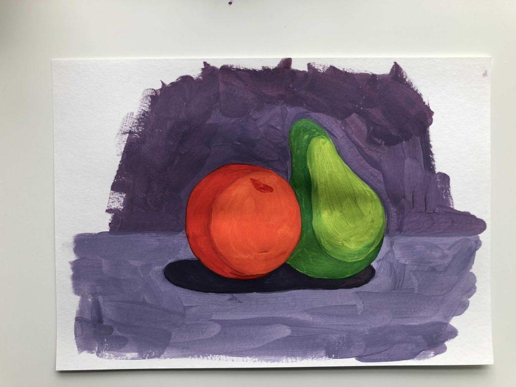 Как научиться рисовать яблоко и грушу гуашью - этап 4