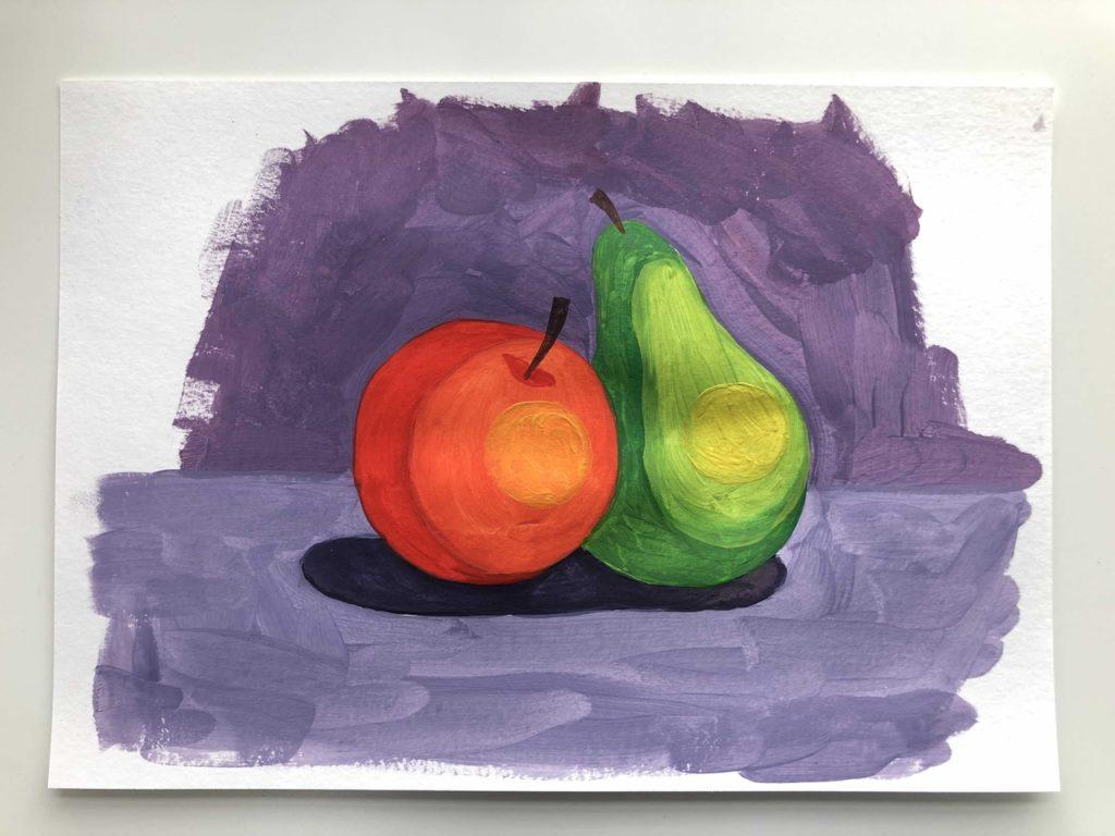 Как научиться рисовать яблоко и грушу гуашью - этап 5