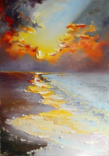 Картина в технике импасто - закатное солнце - фото