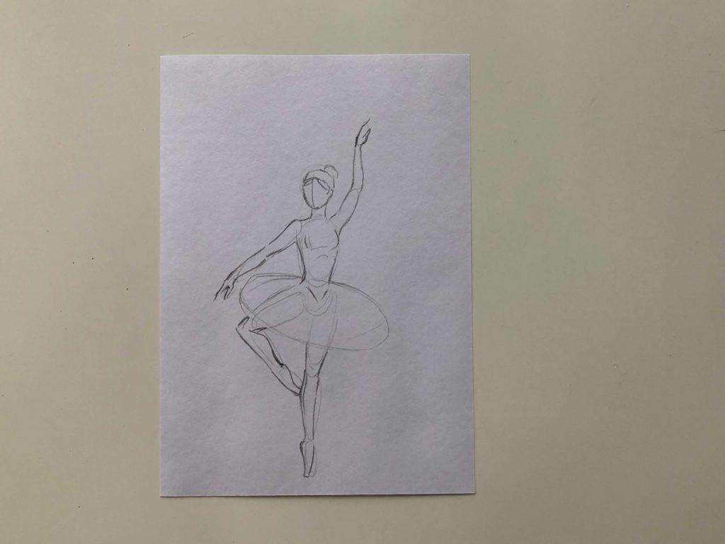 Как нарисовать балерину карандашом - простой способ - этап 2