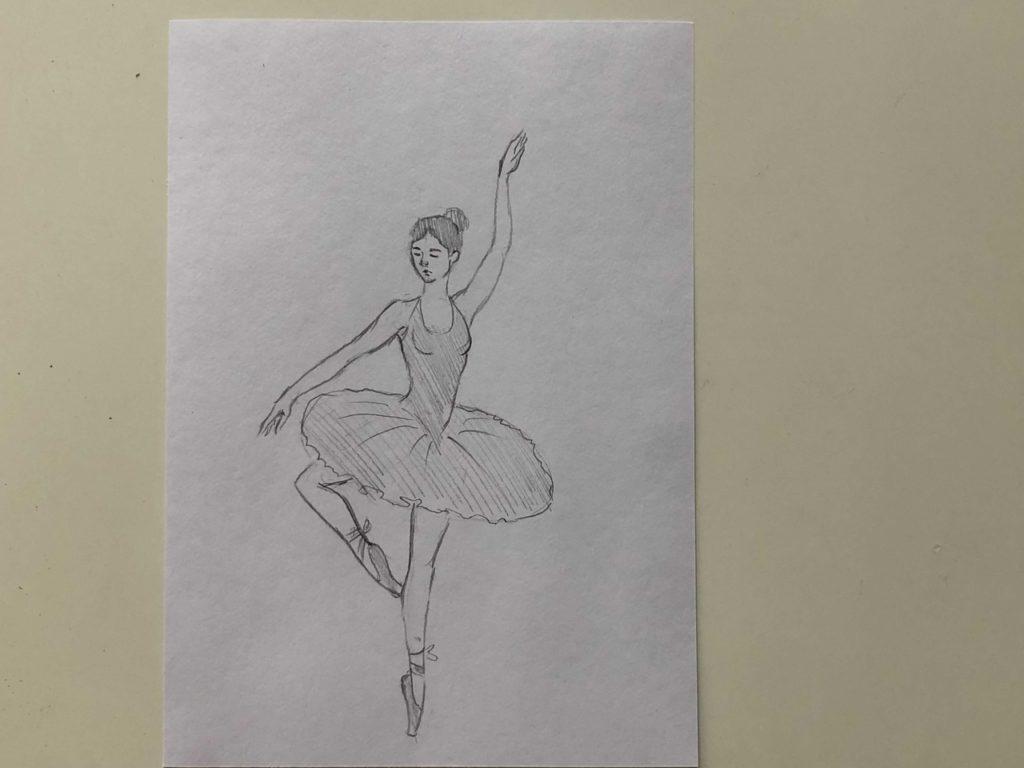 Как нарисовать балерину карандашом - простой способ - этап 3