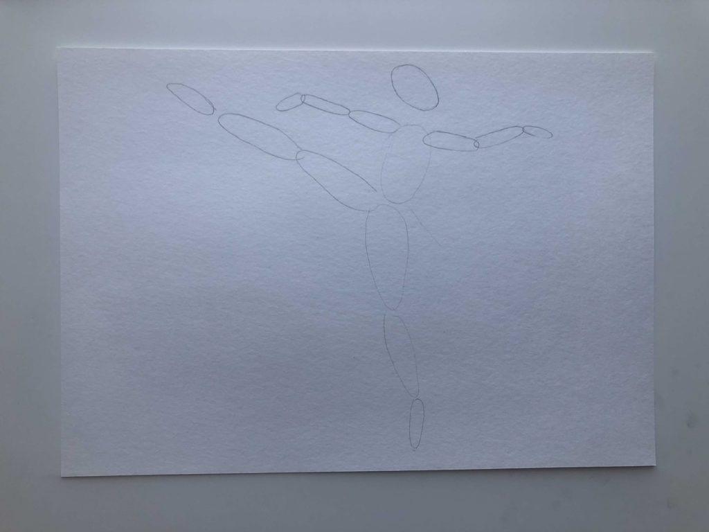 Как нарисовать балерину в движении карандашом - этап 1