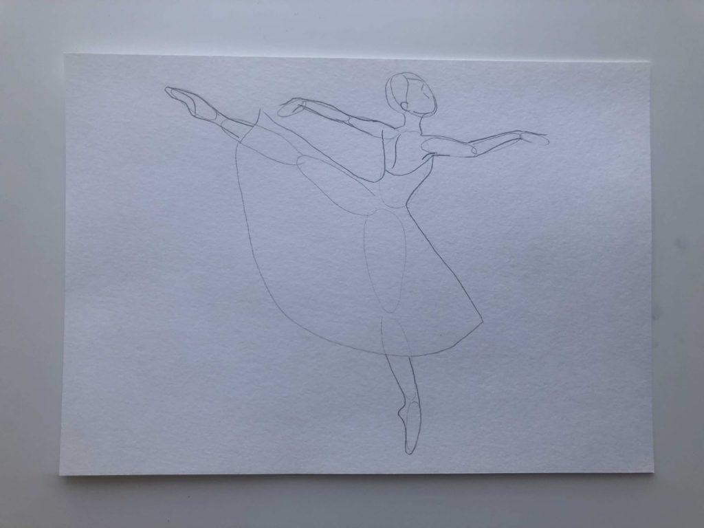 Как нарисовать балерину в движении карандашом - этап 2