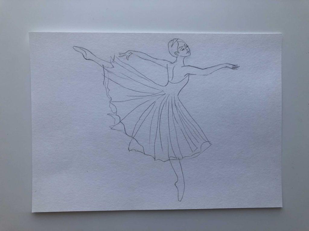 Как нарисовать балерину в движении карандашом - этап 3