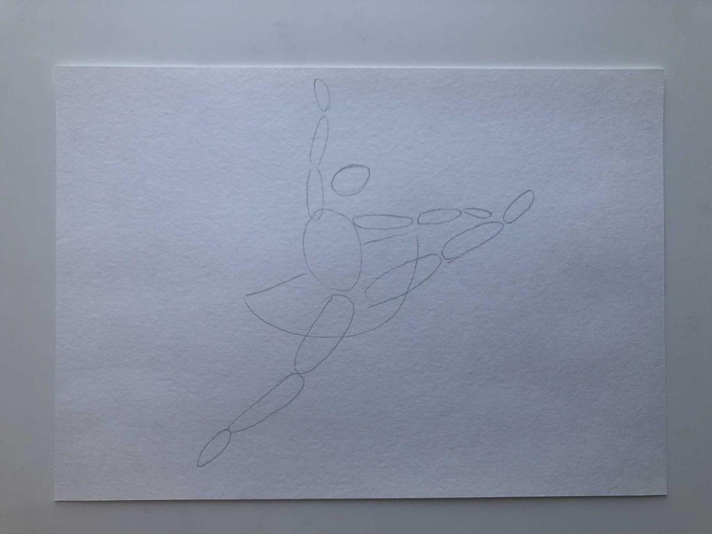 Как нарисовать балерину в прыжке карандашом - этап 1