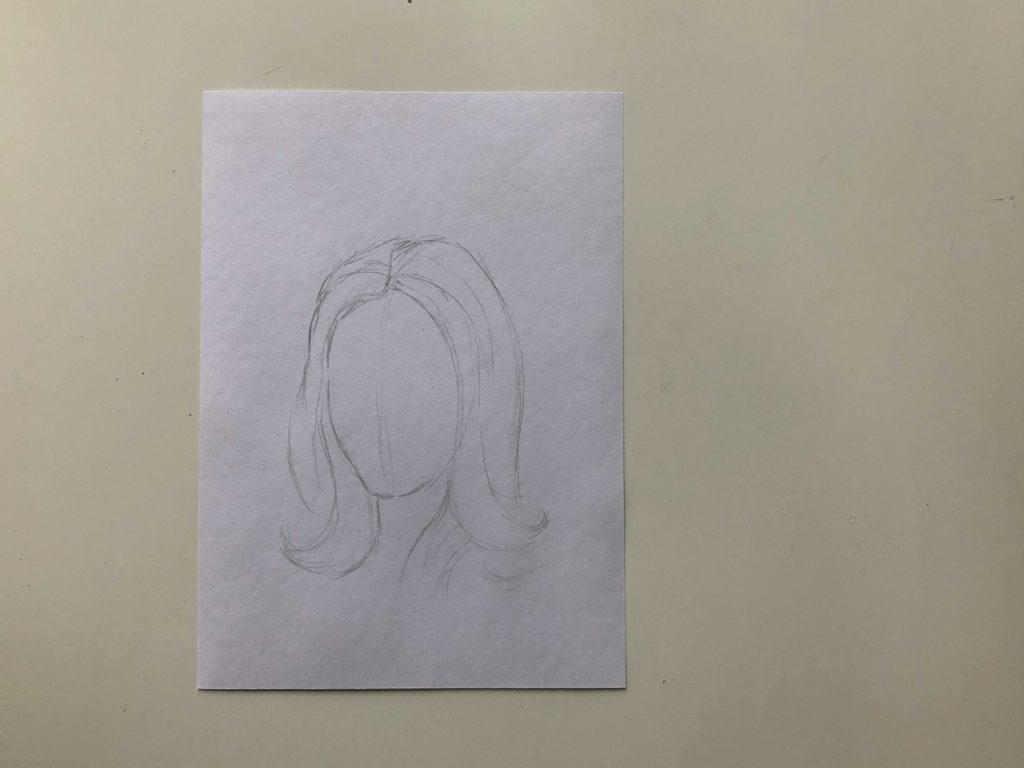 Как нарисовать длинные распущенные волосы - этап 1