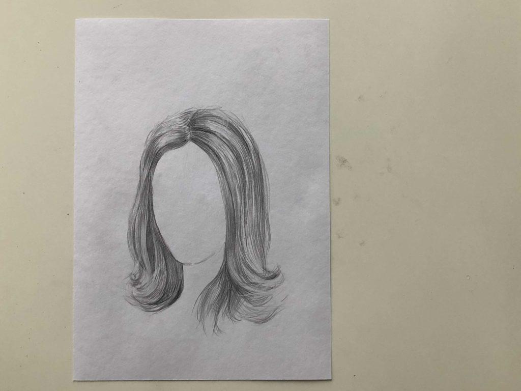 Как нарисовать длинные распущенные волосы - этап 3