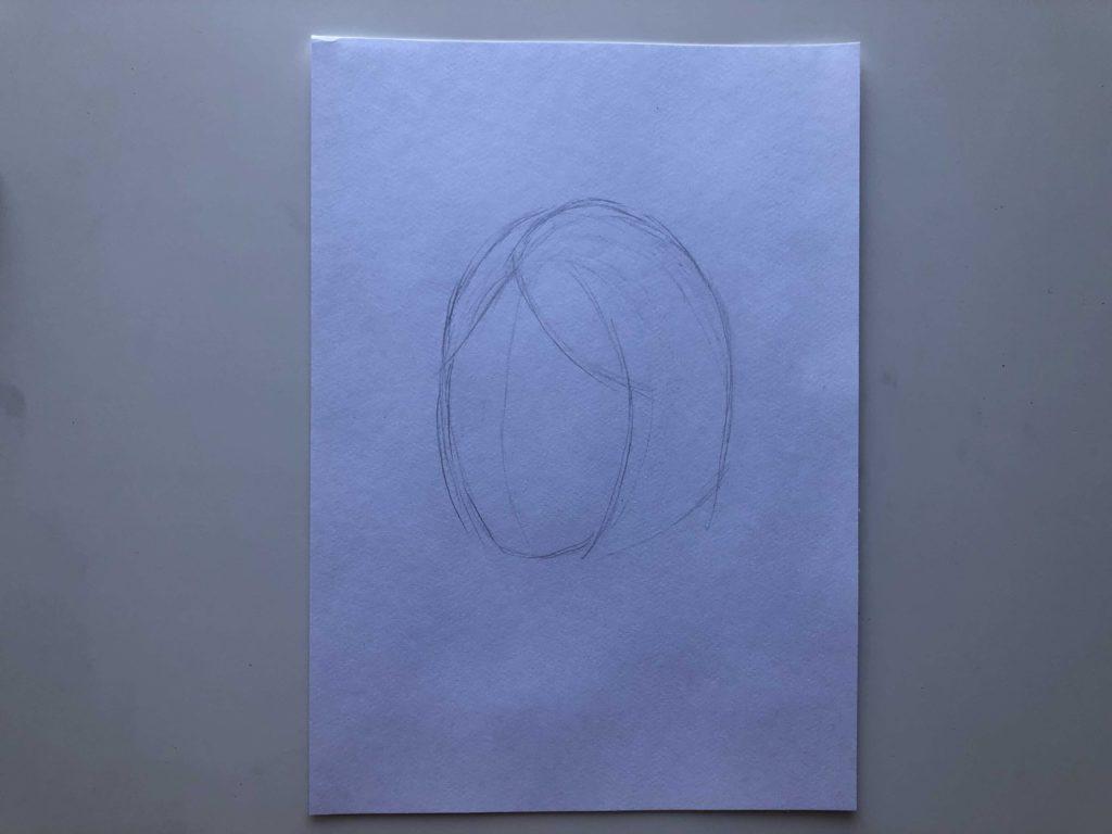 Как нарисовать короткие волосы - этап 1