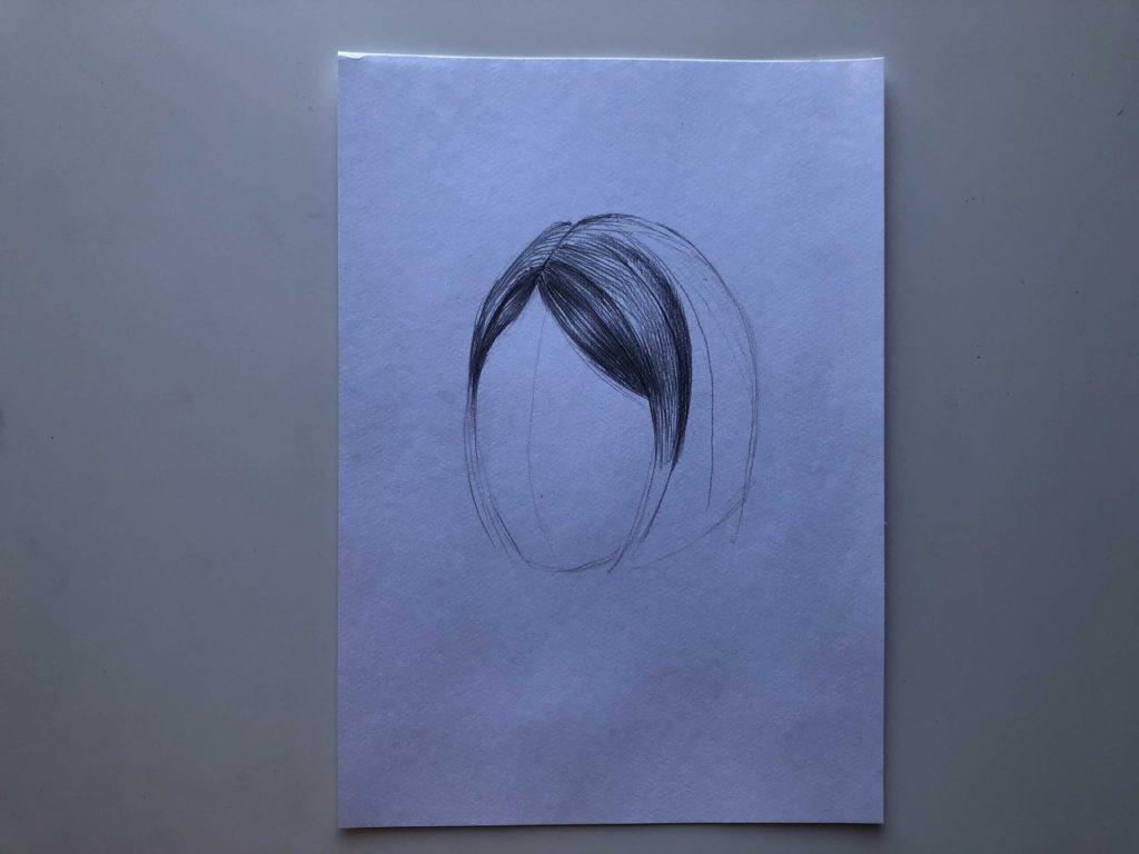 Как нарисовать короткие волосы - этап 2