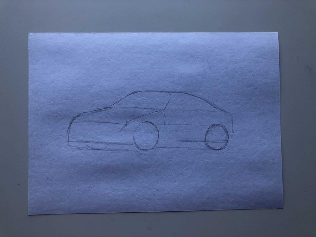 Как нарисовать машину в дрифте - этап 1