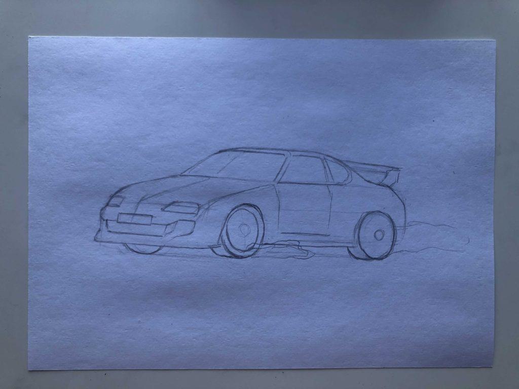 Как нарисовать машину в дрифте - этап 2