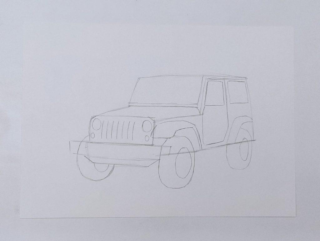 Как нарисовать джип - этап 2