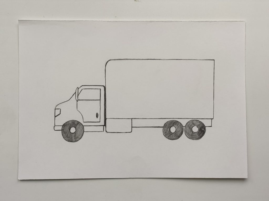 Как нарисовать грузовик - этап 3