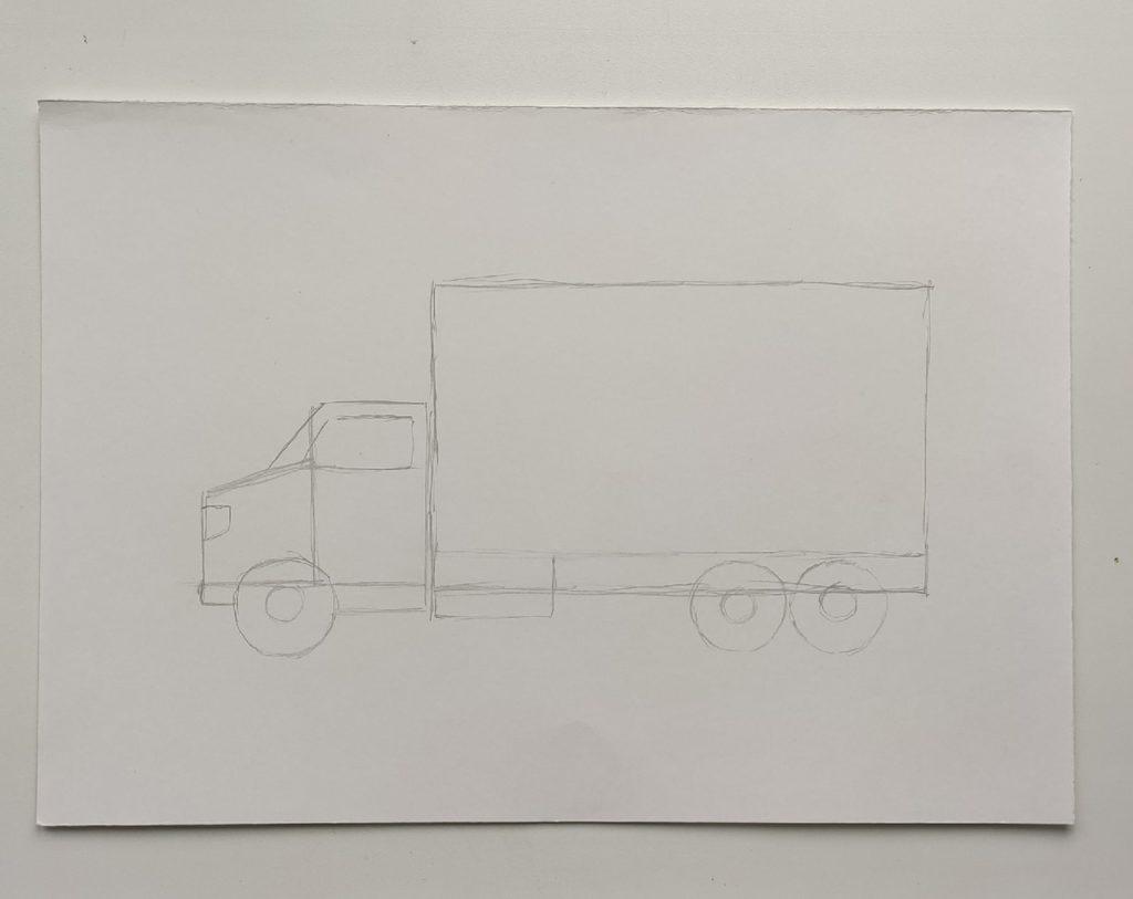Как нарисовать грузовик - этап 2