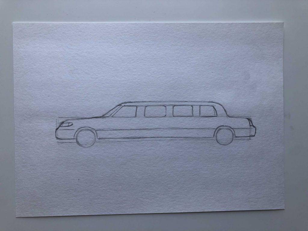 Как нарисовать лимузин - этап 2