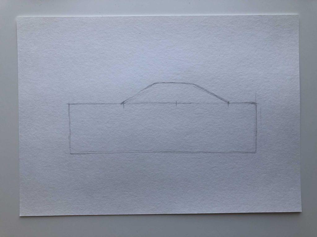 Как нарисовать гоночную машину - этап 1