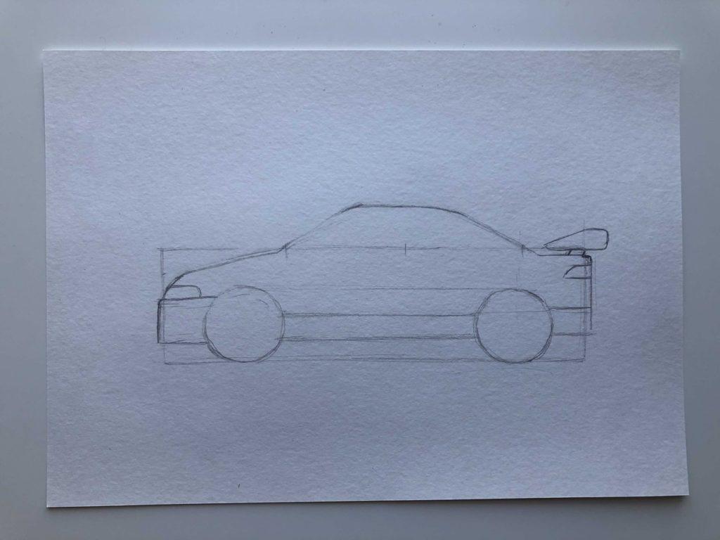 Как нарисовать гоночную машину - этап 2