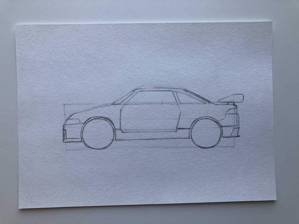 Как нарисовать гоночную машину - этап 3
