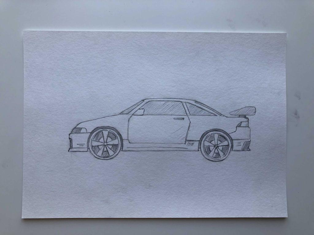 Как нарисовать гоночную машину - этап 4