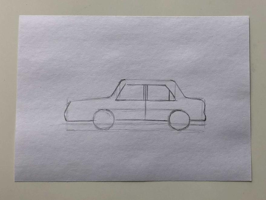 Простой способ нарисовать машину - этап 2