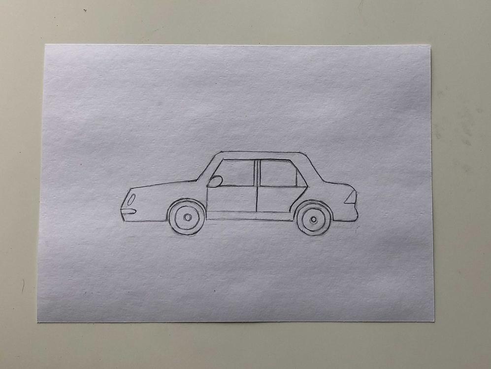 Простой способ нарисовать машину - этап 3