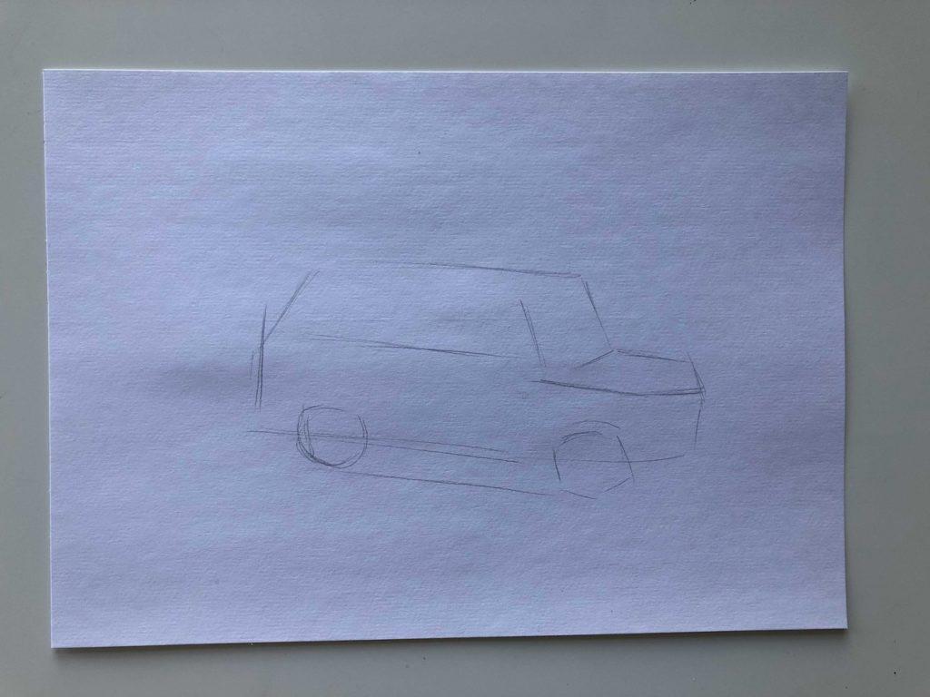 Как нарисовать разбитую машину - этап 1