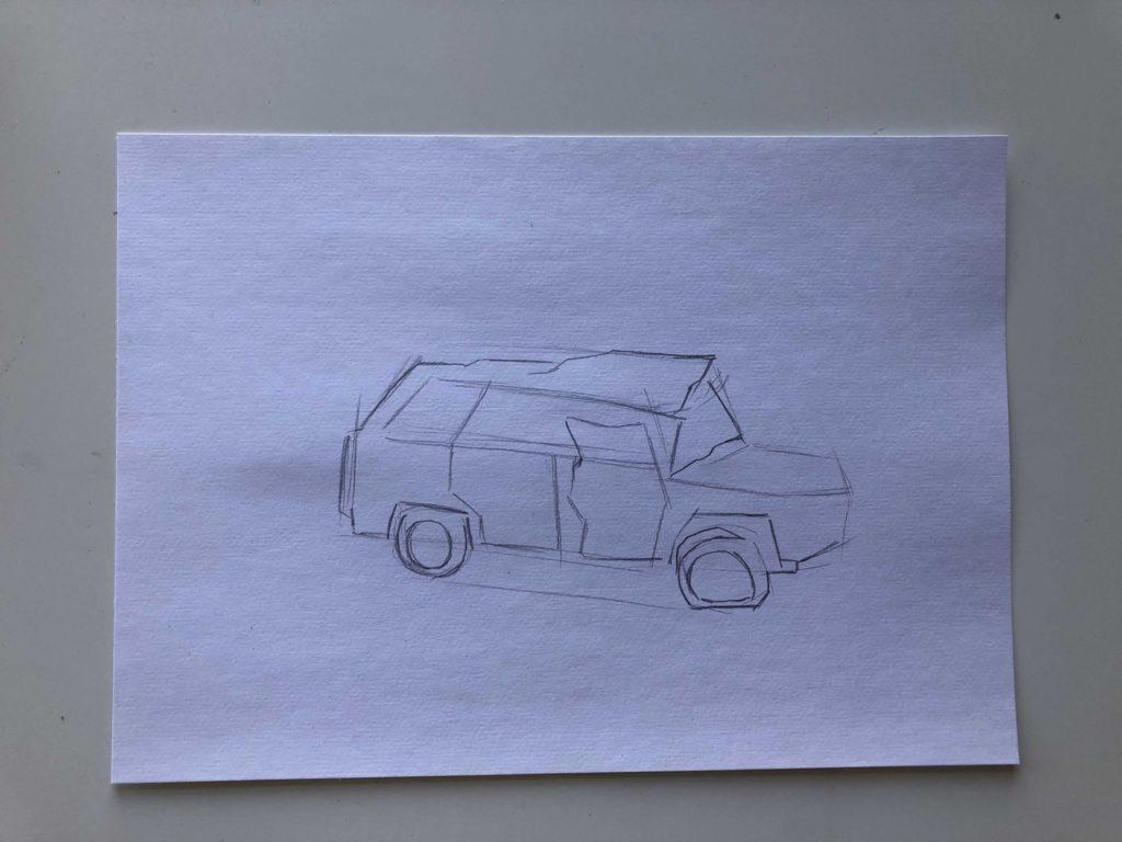 Как нарисовать разбитую машину - этап 2