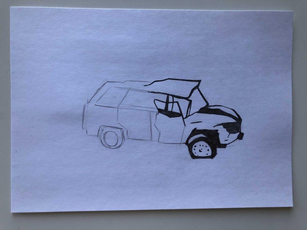 Как нарисовать разбитую машину - этап 3