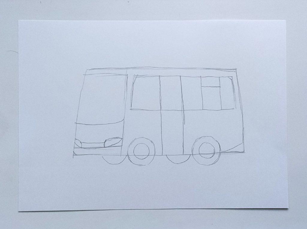 Как нарисовать микроавтобус - этап 2