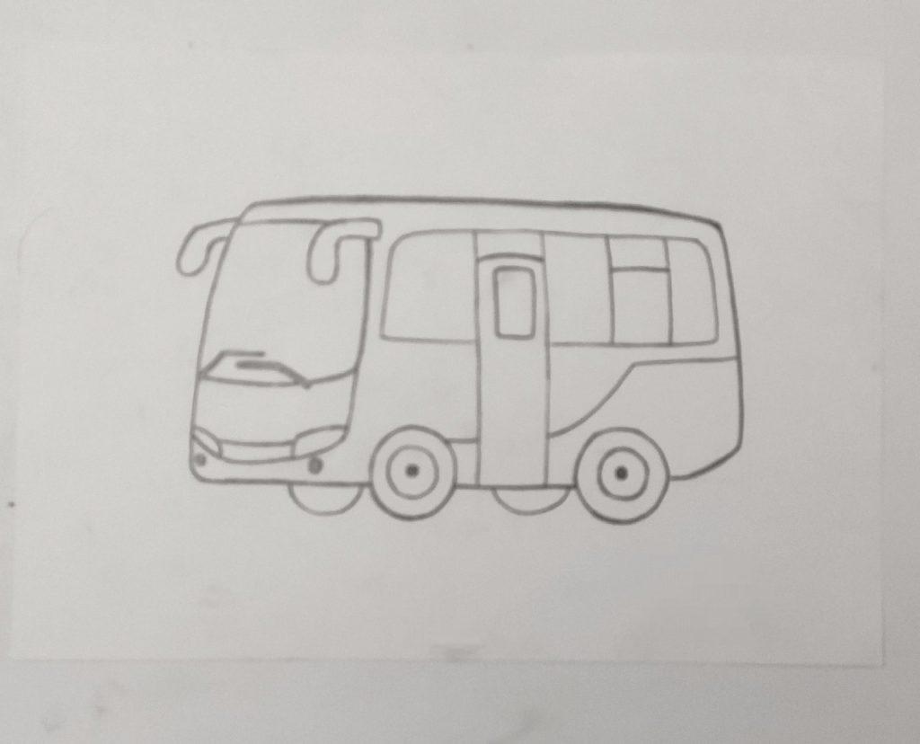 Как нарисовать микроавтобус - этап 3