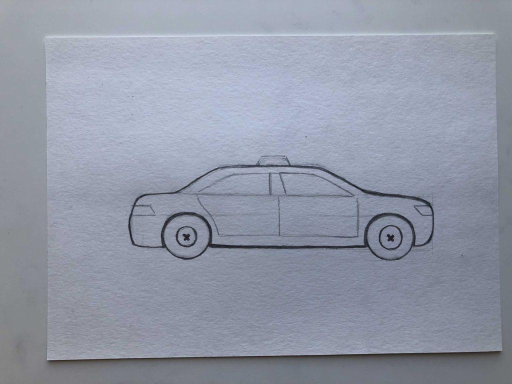Как нарисовать такси - этап 2