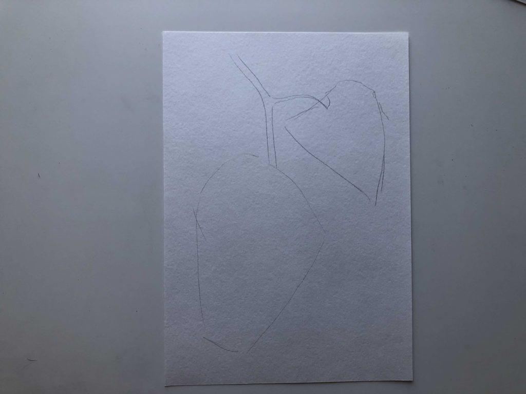 Как нарисовать виноград карандашом - лоза - 1 этап