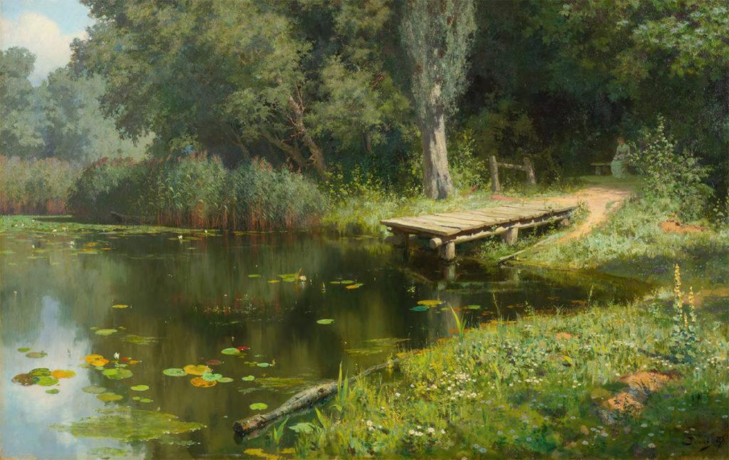 Великие русские художники-пейзажисты - «Заросший пруд», Василий Поленов - фото