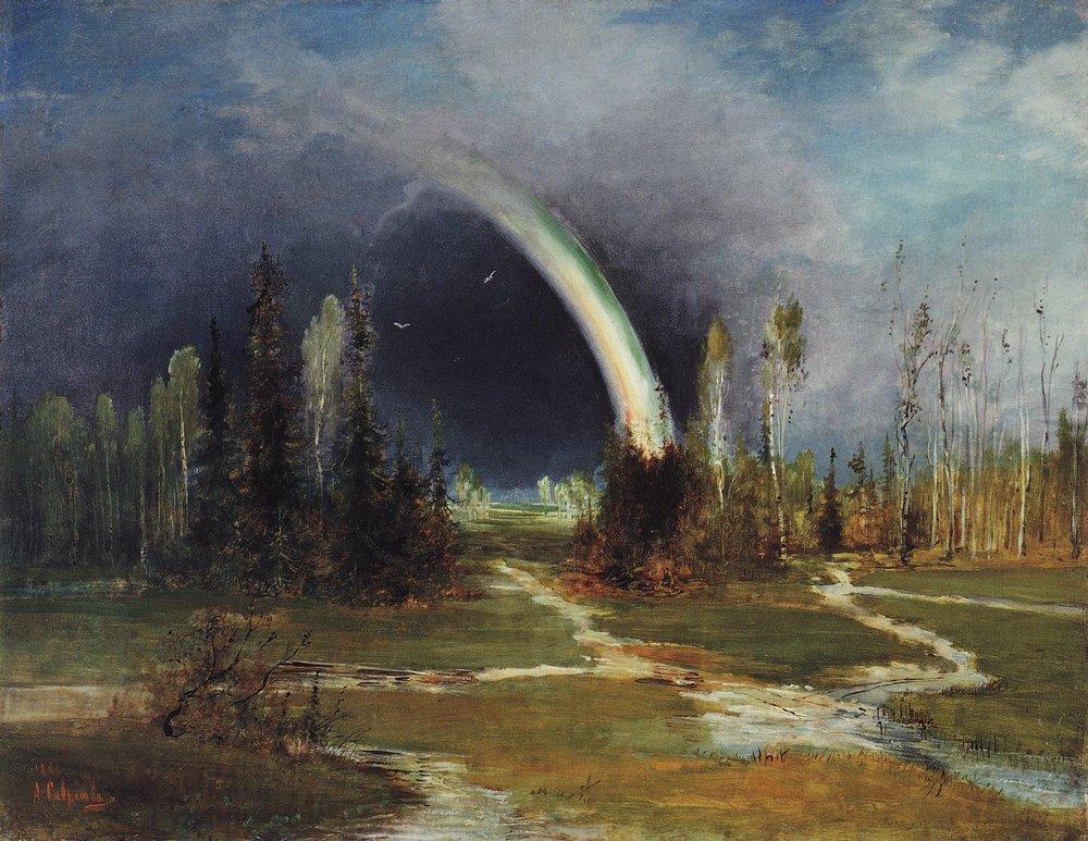 Великие русские художники-пейзажисты - «Пейзаж с радугой», Алексей Саврасов - фото
