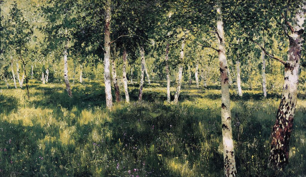 Великие русские художники-пейзажисты - «Берёзовая роща», Исаак Левитан - фото