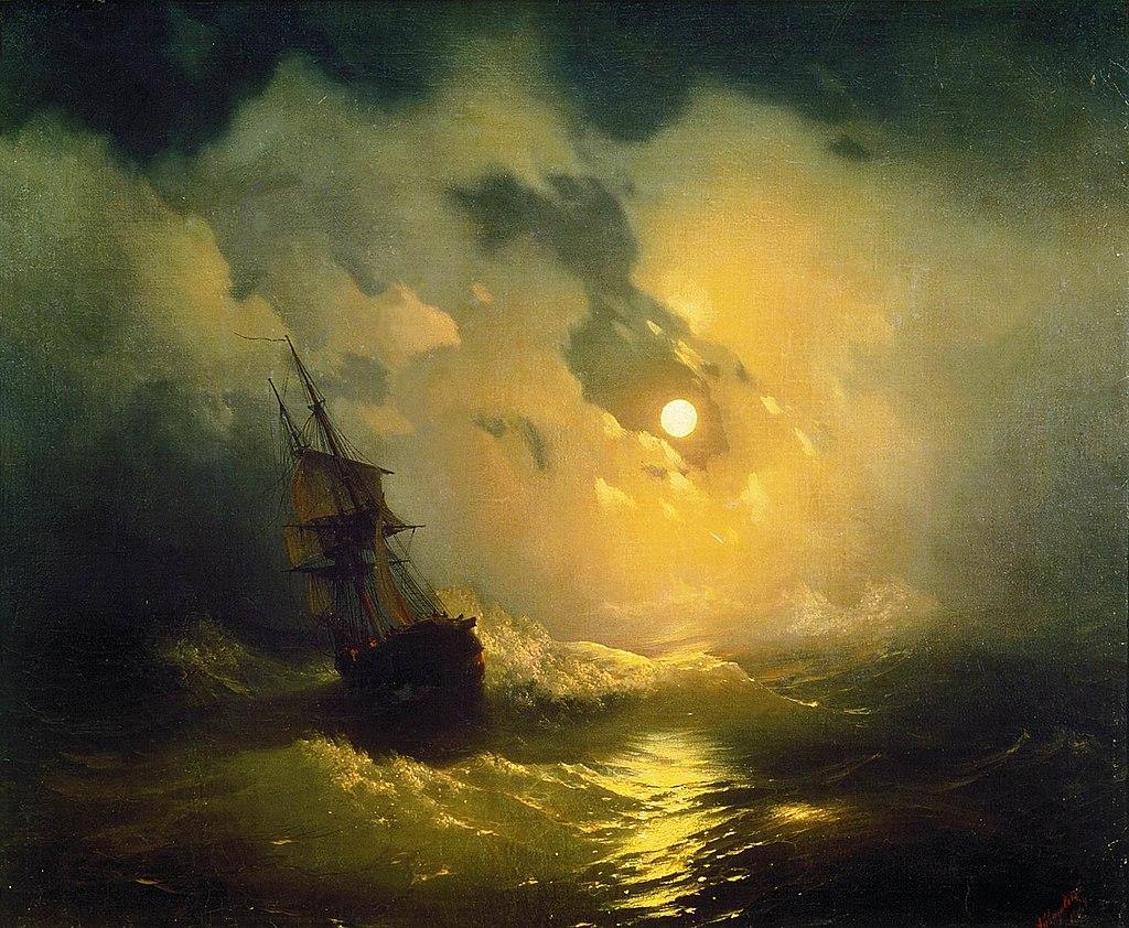 Великие русские художники-пейзажисты - «Буря на море ночью», Иван Айвазовский - фото